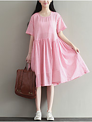 Women's Going out Simple A Line Dress,Plaid Round Neck Knee-length ½ Length Sleeve Pink Cotton Summer