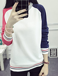 Women's Going out Simple / Street chic Regular Hoodies,Patchwork White Round Neck Long Sleeve Cotton Spring