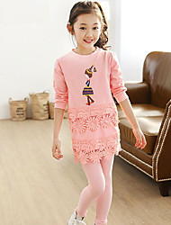 Girl's Cotton Spring/Autumn Princess Clothes Set Embroidery Lace Two-piece Set