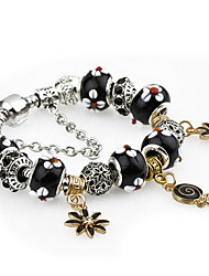 Retro Silver Black DIY Bead Strand Charm Bracelet with Flower Pendant