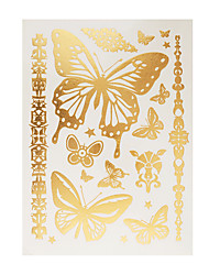 1pc Flash Metallic Temporary Tattoo Gold Butterfly Bracelet Chain Tattoo Sticker GH-34