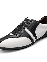 Herren-Flache Schuhe-Lässig-Leder-Flacher Absatz-Komfort-Weiß / Orange