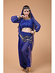 Belly Dance Tops Women's Performance Polyester Sequins 1 Piece Blue / Fuchsia Belly Dance Long Sleeve High Top