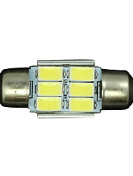 10PCS Pure White CANBUS 31MM 5630 6SMD Festoon Dome Map Interior LED Light bulbs DE3175