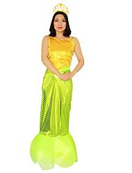 Costumes de Cosplay Costume de Soirée Sirène Conte de Fée Fête / Célébration Déguisement d'Halloween Vert clair Jaune Rétro RobeHalloween