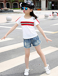 Girl's Casual/Daily Striped Tee,Cotton Summer White