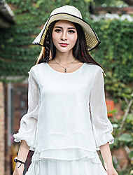 Women's Casual/Daily Simple Spring / Fall Blouse,Floral Round Neck Long Sleeve Linen Medium