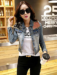 Women's Casual/Daily Simple Spring / Fall Denim Jackets,Patchwork Shirt Collar Long Sleeve Blue Polyester Medium