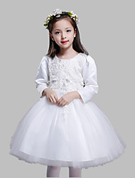 A-line Knee-length Flower Girl Dress - Cotton / Satin / Tulle 3/4 Length Sleeve Jewel with Appliques