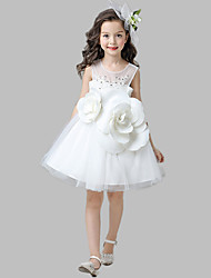 A-line Knee-length Flower Girl Dress - Cotton Satin Tulle Jewel with Appliques Flower(s)