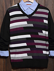 Men's Color Block Casual Pullover,Cotton Long Sleeve Green / Purple