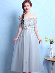 Ball Gown Off-the-shoulder Tea Length Satin Tulle Prom Formal Evening Dress with Appliques