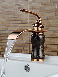 High Quality Imitation jade Rose Gold Waterfall Bathroom Sink Faucet (Short)
