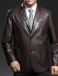 Men's Long Sleeve Casual Jacket,Polyester Solid Black / Brown