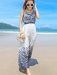 Women's Beach Boho Sheath Dress,Floral Round Neck Maxi Sleeveless Blue Polyester Summer
