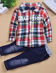 Boy's Cotton Spring/Autumn Fashion Patchwork Casual Long Sleeve Plaid Shirt And Jeans Pants Two-piece Set