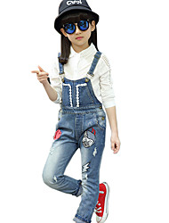Girl's Cotton Spring/Autumn Fashion Cartoon Embroidered Jeans Pants Suspender Trousers Patchwork Overalls