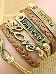 Herre Dame Par Kæde & Lænkearmbånd Wrap Armbånd Vintage Armbånd Læder Armbånd Inspirerende Indledende smykker Læder Legering Kærlighed