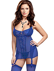 Lace Me up Garter Chemise Set with G-String