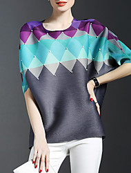 Women's Formal Sophisticated Spring T-shirt,Color Block Round Neck ½ Length Sleeve Multi-color Rayon Thin