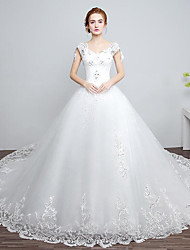 Ball Gown Wedding Dress Chapel Train V-neck Lace / Tulle with Beading / Lace