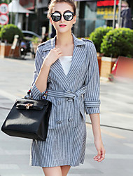 Women's Work Sophisticated CoatStriped Peaked Lapel Long Sleeve Spring Gray