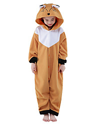 Kigurumi Pajamas New Cosplay® Fox Leotard/Onesie Festival/Holiday Animal Sleepwear Halloween Brown Solid Polar Fleece Kigurumi For Kid