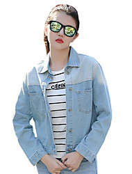 Women's Casual/Daily Simple Slim All Match Spring / Fall Denim Jackets,Solid Shirt Collar Long Sleeve