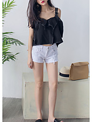 Women's Going out / Casual/Daily Sexy Summer Blouse,Solid Strap Sleeveless Black Rayon Sheer