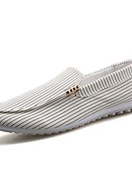 Masculino-Sapatos de BarcoRasteiro-Preto Branco-Lona-Casual