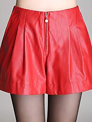 Damen Hose - Sexy / Einfach / Niedlich Kurze Hose PU Mikro-elastisch