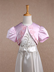 Kids' Wraps Shrugs Short Sleeve Satin Candy Pink Wedding / Party/Evening Scoop Appliques Open Front
