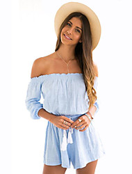 Women's Solid Blue Jumpsuits,Street chic Boat Neck ¾ Sleeve