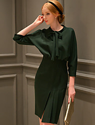 DABUWAWA Women's Going out / Formal / Party/Vintage / Sophisticated Bodycon / Sheath Dress, V Neck Above Knee ¾ Sleeve