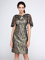 TS Couture® Cocktail Party Dress - Wrap Included Sheath / Column Bateau Knee-length Polyester with Appliques / Pattern / Print