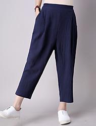 Mulheres Calças Simples Chinos Algodão Micro-Elástica Mulheres