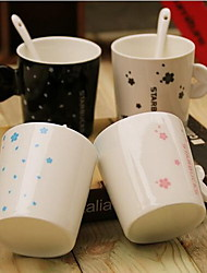 Simple Ceramic Black and White Couple Sets of Cups Milk Cup Coffee Cup with Spoon(Random Colors)