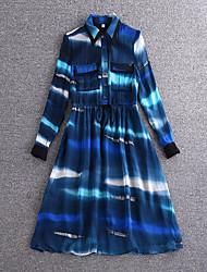 Boutique S Going out Street chic Sheath DressPrint Shirt Collar Knee-length Long Sleeve Blue Silk/Summer High Rise