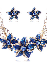 Fashion Daily Party 18K Gold Diamond Flowers Necklace Stud Earrings For Women All Seasons Jewelry Sets(Assorted Colors)