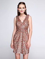 LAN TING BRIDE Short / Mini V-neck Bridesmaid Dress - Sparkle & Shine Sleeveless Sequined