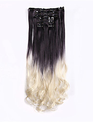 Two Tones Hair Ombre Synthetic Hair Extension Gradient Clip In Hair Extension 7Pcs/Set 56cm 22inch Peluca
