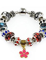 Women Alloy Silver Flower Strand Bracelets