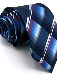 New Men's Necktie Tie 100% Silk For Men Dark Blue Checked Wedding Business Fashion Extra Long Jacquard Woven