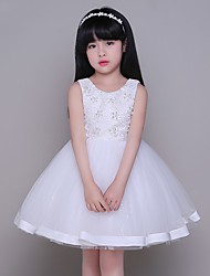 Ball Gown Knee-length Flower Girl Dress - Tulle Jewel with Lace