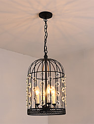 vintage Industry Loft Metal Crystal Birdcage Pendant Lights Living Room Cafe Restaurant Kitchen Light Fixture