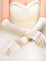 Classical Elbow Length Fingertips Glove Elastic Satin Bridal Gloves