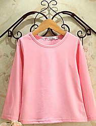 Menina de Camiseta,Casual Cor Única Algodão Primavera / Outono Preto / Verde / Rosa / Branco / Amarelo / Cinza