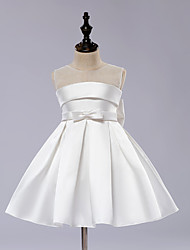 A-line Knee-length Flower Girl Dress - Satin / Tulle Sleeveless Jewel with Bow(s) / Draping / Sash / Ribbon