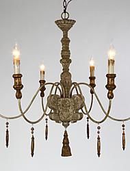 Loft Amercian Wooden Do Old Color Pendant Lamp for the Garage / Hallyway / Living Room Decorate Chandelier Light