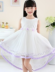 Ball Gown Asymmetrical Flower Girl Dress - Cotton Satin Tulle Jewel with Embroidery Flower(s)